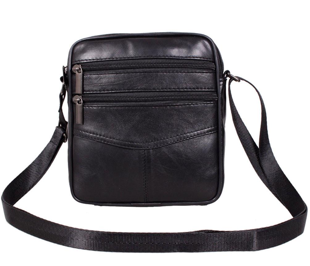 Мужская кожаная сумка Dovhani SW38859 Черная, фото 1