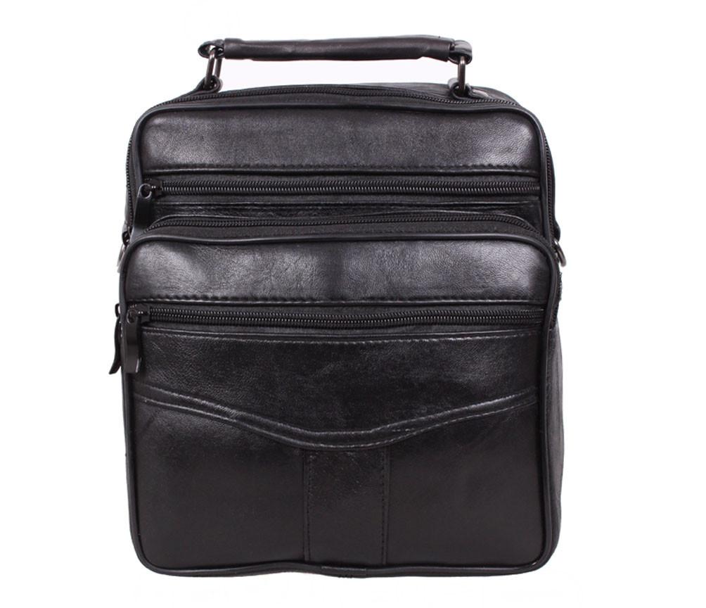 Мужская кожаная сумка Dovhani SW201473 Черная 24 x 20 x 10 см.