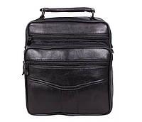 Мужская кожаная сумка Dovhani SW201473 Черная 24 x 20 x 10 см., фото 1