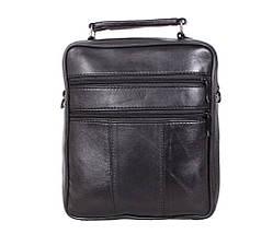Мужская кожаная сумка Dovhani SW201473 Черная 24 x 20 x 10 см., фото 3