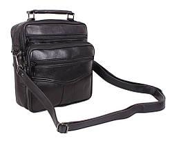 Мужская кожаная сумка Dovhani SW201473 Черная 24 x 20 x 10 см., фото 2