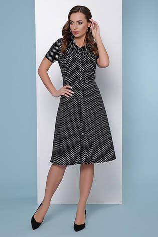 Черное летнее платье-рубашка в горошек с короткими рукавами и поясом, фото 2