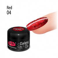 PNB UV/LED Galaxy Gel 04 Red - глиттерный гель красный, 5 мл