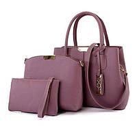 Сумки женские в наборе 3в1 фиолетового цвета