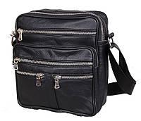 Мужская кожаная сумка Dovhani 60-29BLACK325 Черная 22 х 19 х 7см, фото 1