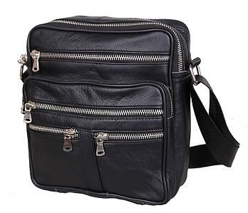 Мужская кожаная сумка Dovhani 60-29BLACK325 Черная 22 х 19 х 7см