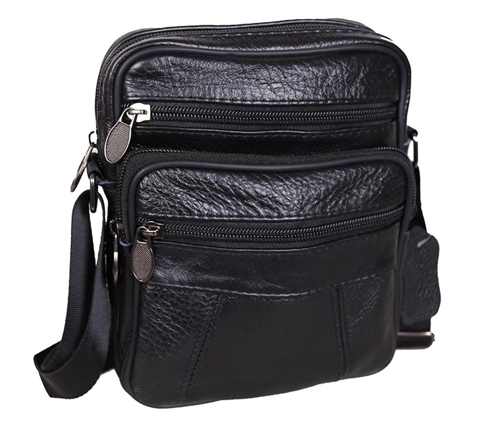 Мужская кожаная сумка Dovhani Bon R010328 Черная 19 x 16 x 7 см.