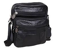 Мужская кожаная сумка Dovhani Bon R010328 Черная 19 x 16 x 7 см., фото 1