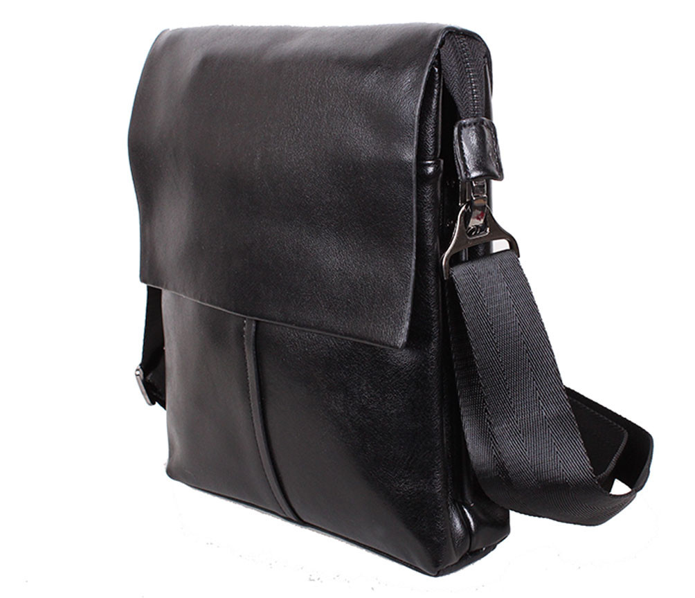 Мужская кожаная сумка Dovhani 302029-6342 Черная