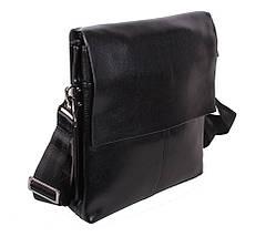Мужская кожаная сумка Dovhani 302029-6342 Черная, фото 2