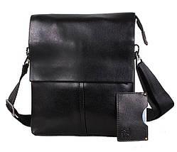 Мужская кожаная сумка Dovhani 302029-6342 Черная, фото 3