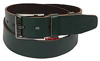 Мужской кожаный ремень под джинсы Skipper 1189-45 зеленый ДхШ: 131х4,5 см.