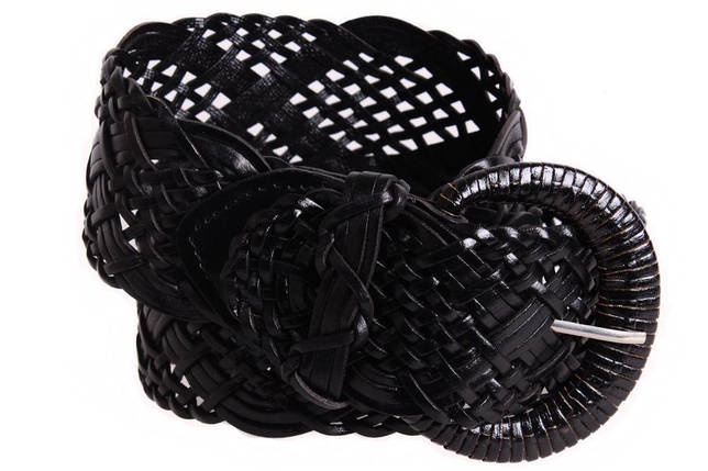 Женский плетеный пояс из натуральной кожи Dovhani PY4524389 100-110 см Черный, фото 2