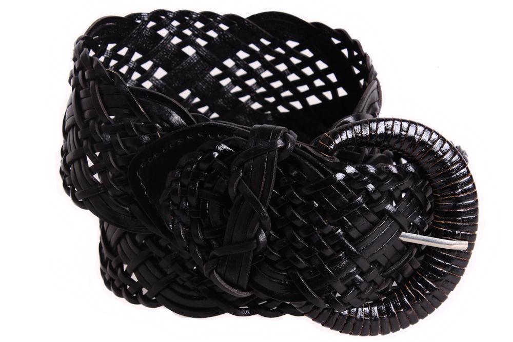 Женский плетеный пояс из натуральной кожи Dovhani PY4524389 100-110 см Черный