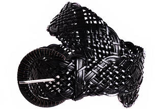 Женский плетеный пояс из натуральной кожи Dovhani PY4524389 100-110 см Черный, фото 3