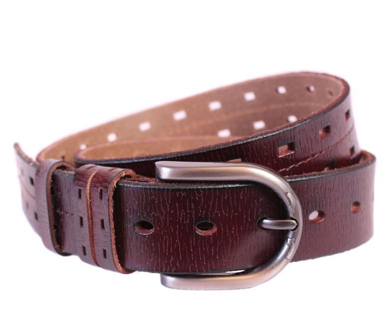 Мужской кожаный ремень Dovhani 301118473 115 см Бордовый