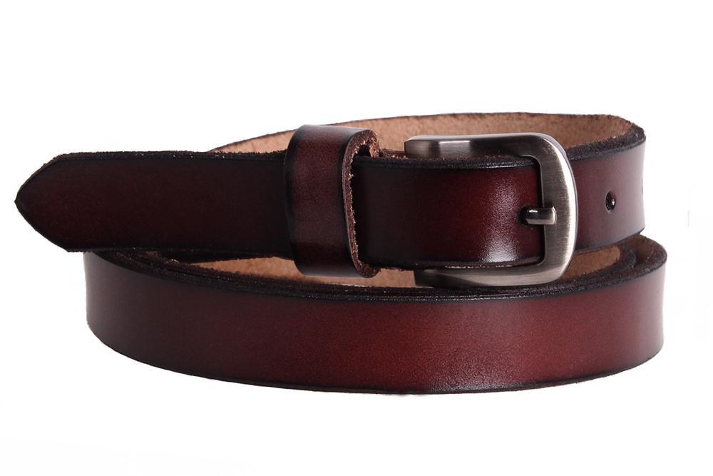 Женский кожаный узкий ремень Dovhani кт6616526 105-115 см Бордовый