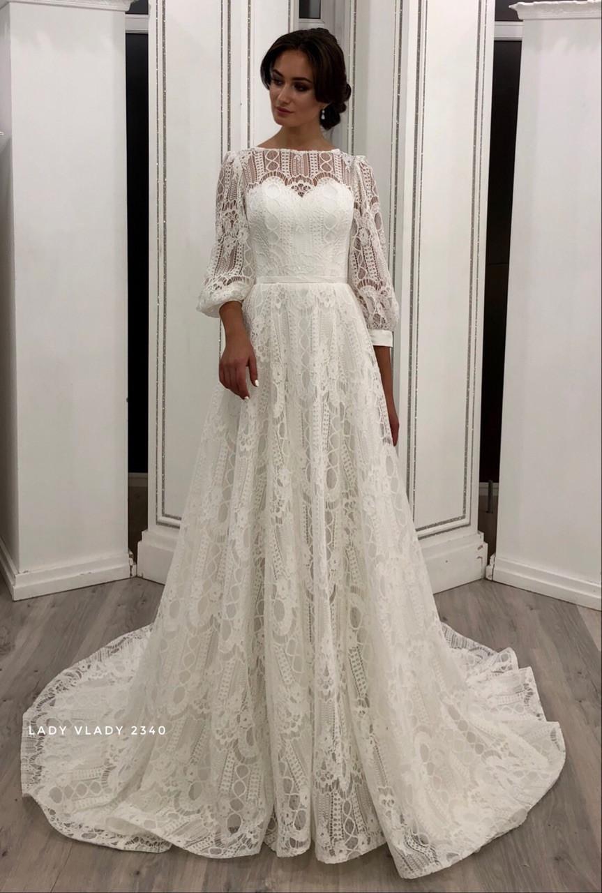 Мереживне весільне плаття в стилі Бохо з рукавами і шлейфом Lady Vlady 2019
