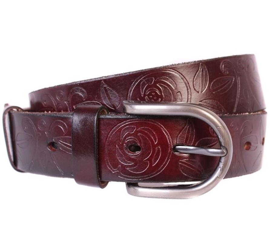 Женский кожаный ремень Dovhani 301124571 110-115 см Бордовый