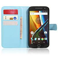 Чехол-книжка Litchie Wallet для Motorola Moto G4 XT1622 / Moto G4 Plus XT1642 Голубой