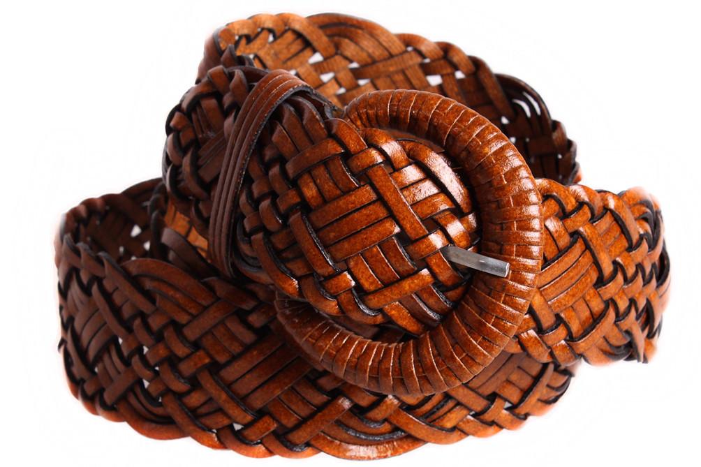 Женский плетеный ремень Dovhani PL4471582 110-115 см Коричневый