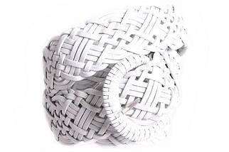 Женский плетеный ремень Dovhani PL4480583 110-115 см Белый, фото 3