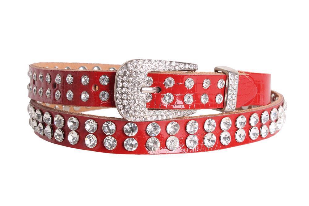 Женский ремень со стразами Dovhani ST49195606 110 см Красный