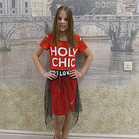 Комплект-футболка+юбка фатин(19 красный), фото 1