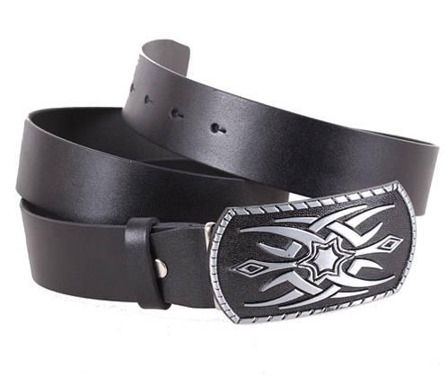 Мужской кожаный ремень Dovhani blx90370-22753 120 см Черный, фото 2