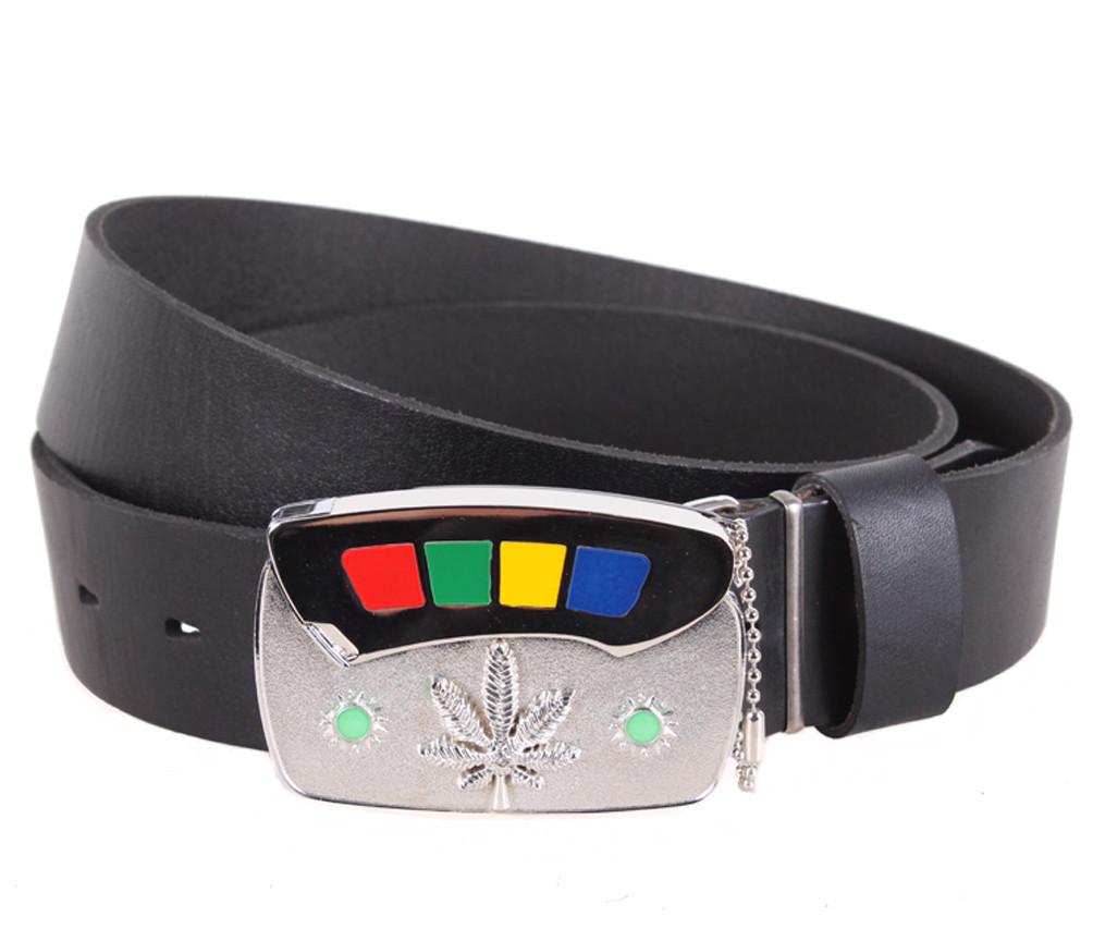 Мужской кожаный ремень Dovhani BLX5163-86754 120 см Черный