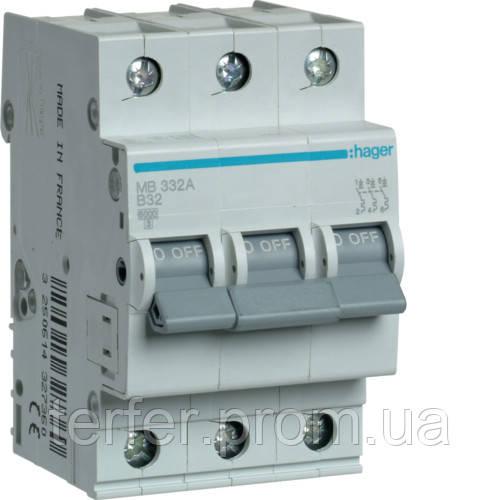 Автоматичний вимикач 3P 6kA B-32A 3M