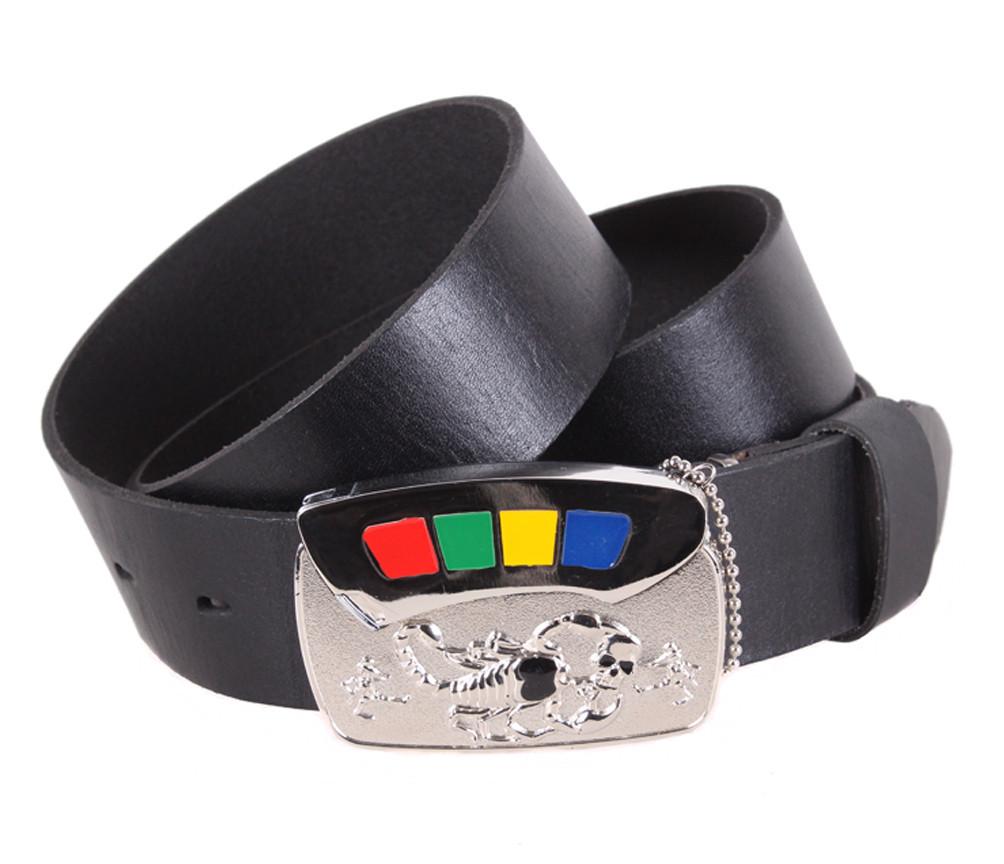 Мужской кожаный ремень Dovhani BLX5163-89777 120 см Черный