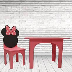 Столик Микки + стульчик Малиновый SKU-4