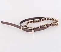 Женский узкий ремень Dovhani UZZ0033-5841 115 см Коричневый