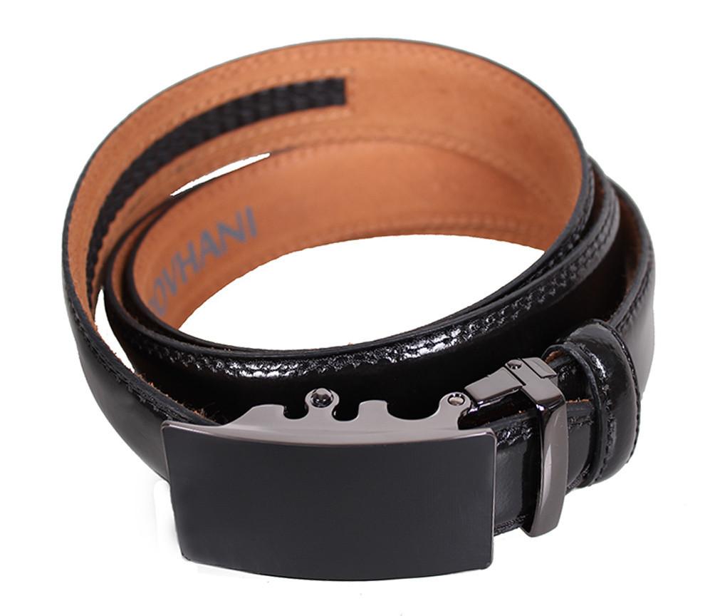 Мужской кожаный ремень Dovhani MJ0007-3847 115-125 см Черный