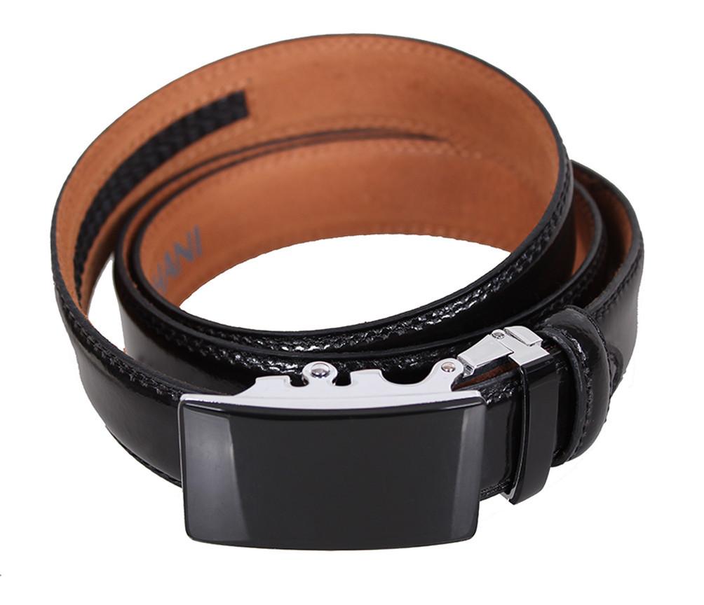 Мужской кожаный ремень Dovhani MJ0007-5850 115-125 см Черный