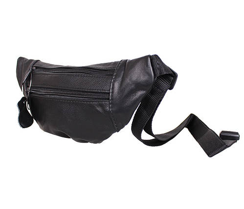 Мужская кожаная сумка на пояс Dovhani  SW8683855 Черная, фото 2