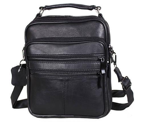 Мужская кожаная сумка Dovhani SW8723858 Черная В22 x Ш19 x Г6 см, фото 2