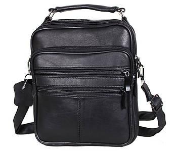 Мужская кожаная сумка Dovhani SW8723858 Черная В22 x Ш19 x Г6 см