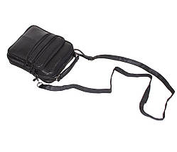 Мужская кожаная сумка Dovhani SW8723858 Черная В22 x Ш19 x Г6 см, фото 3
