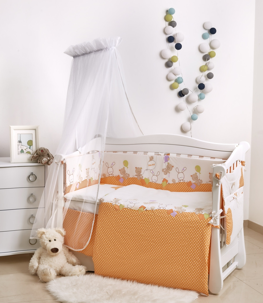 Детская постель Twins Comfort New  С-121 Горошки 7 эл (Постіль твинс Горошки оранжевый)