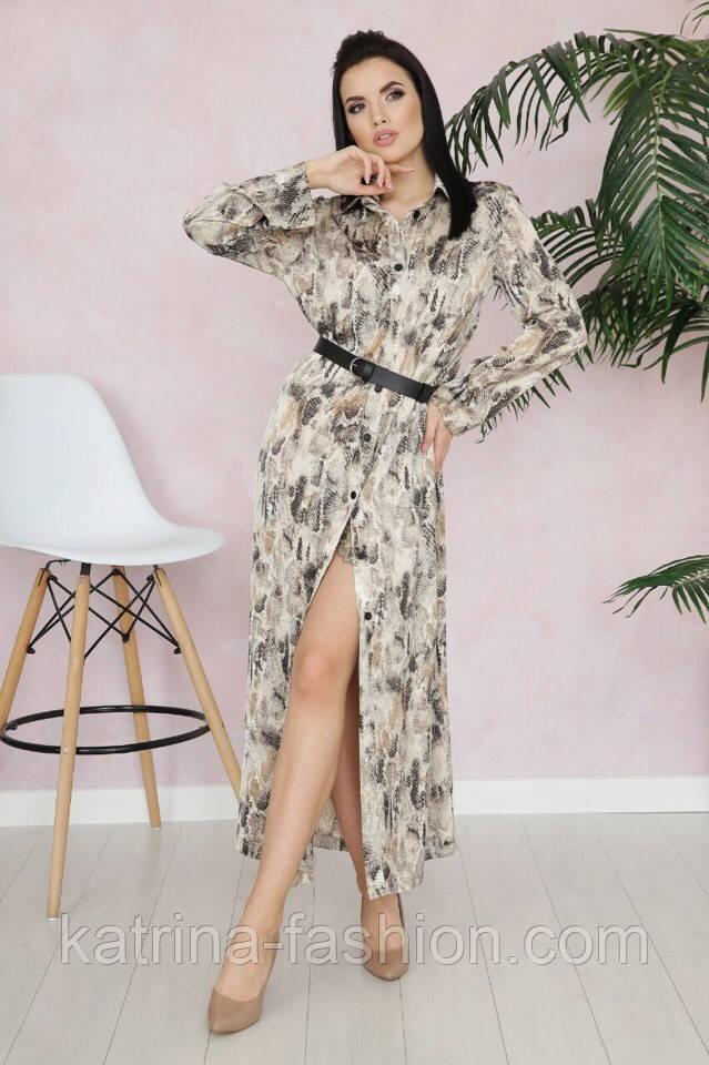 Женское стильное платье-рубашка с принтами (в расцветках)
