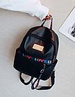 Рюкзак жіночий чорний кожзам. з написами Love, фото 3
