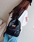 Рюкзак жіночий чорний кожзам. з написами Love, фото 4