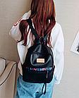 Рюкзак жіночий чорний кожзам. з написами Love, фото 5