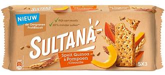 Печенье Sultana Fruitbiscuits Spelt, Quinoa & Pompoen / citrouille 218 g