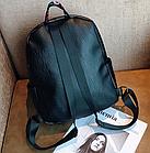 Рюкзак жіночий чорний кожзам. з написами Love, фото 7
