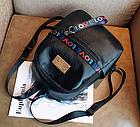 Рюкзак жіночий чорний кожзам. з написами Love, фото 8