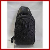 Мужская сумка через плечо бананка 3601 черная