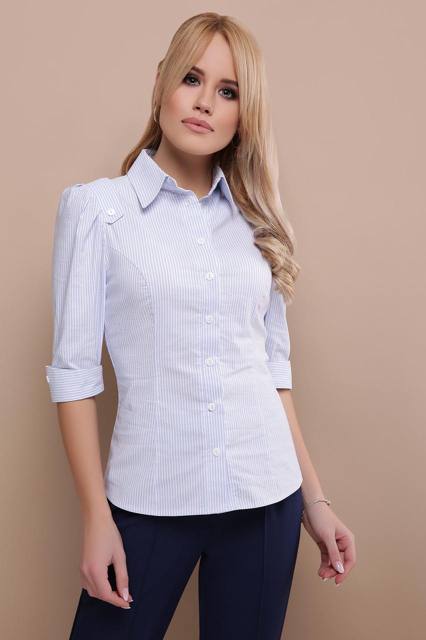 Женская белая с голубыми полосками классическая блуза рукава три четверти  Камила к/р